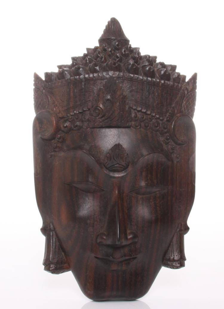 Vintage Balinese carved rosewood face. Estima