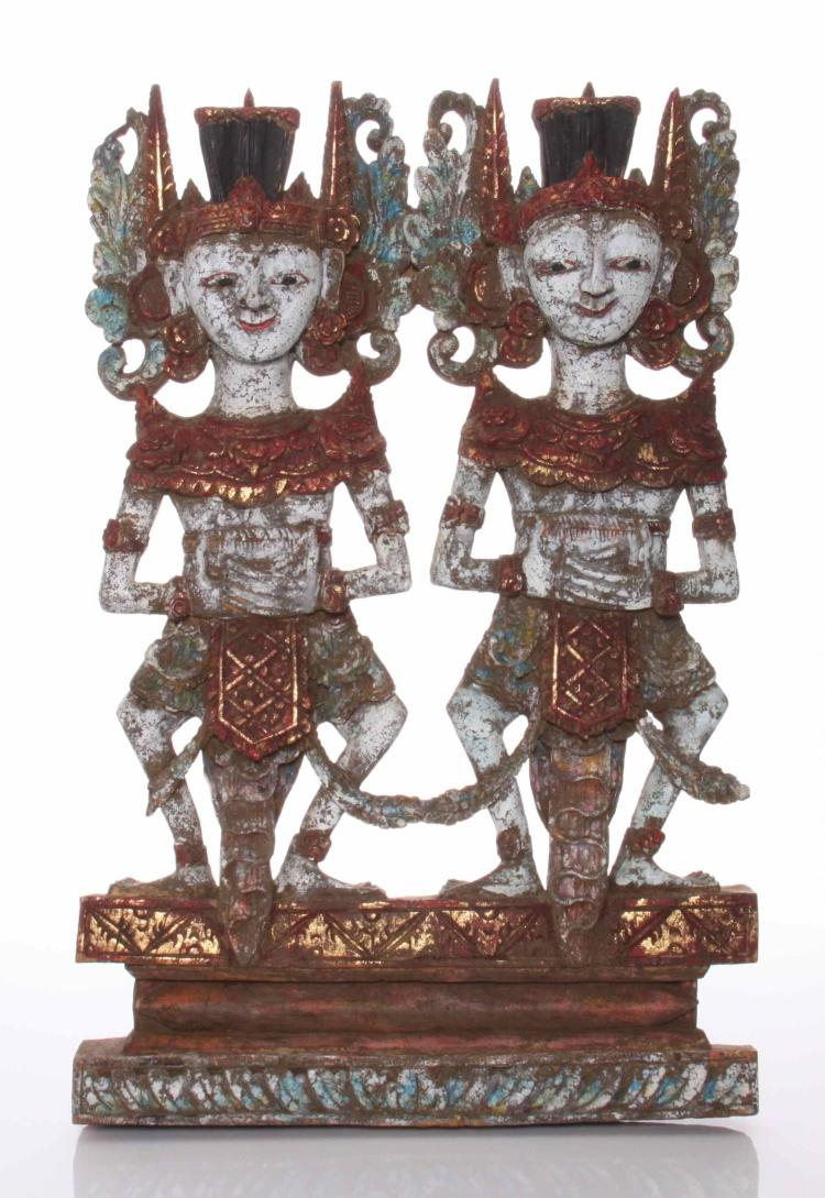 Antique Java, Indonesian painted wood temple c