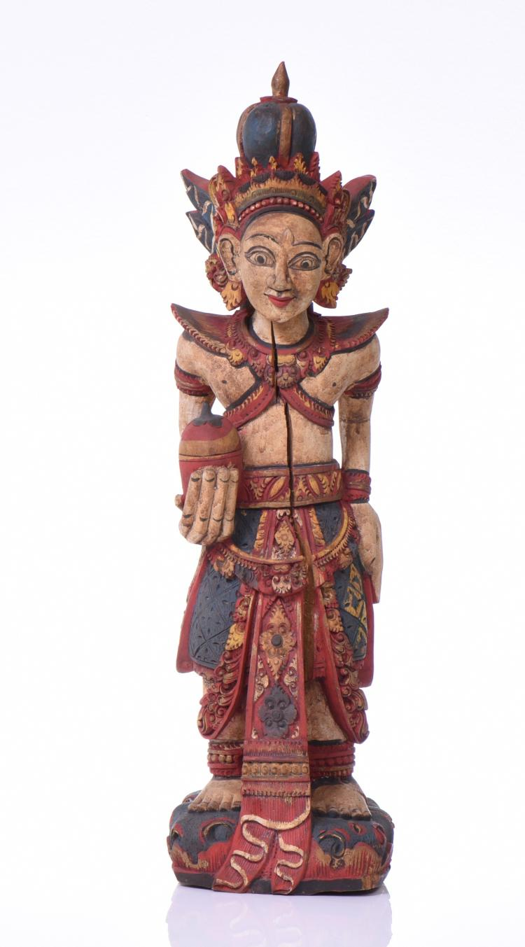 Indonesian Polychrome Hand Carved Wood Hindu D