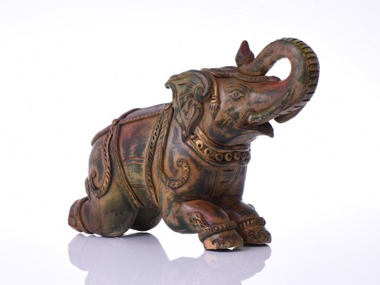 Ceramic Clay Elephant Kneeling On Hind Legs.