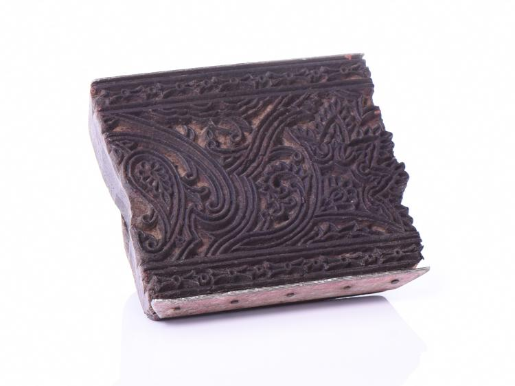 India Wood Stamp Block Carved With An Intricat