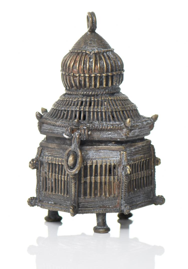 Indian Sand Cast Brass Hanging Cage Style Cens