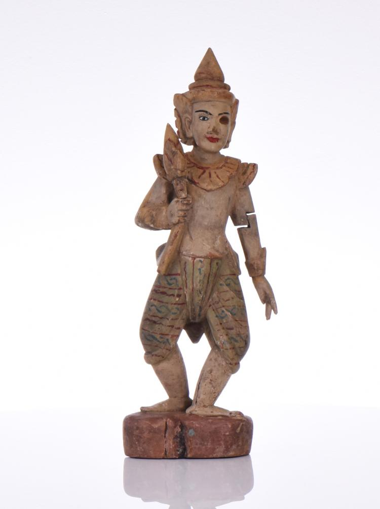 Rare And Unusual India Polychrome Painted Wood