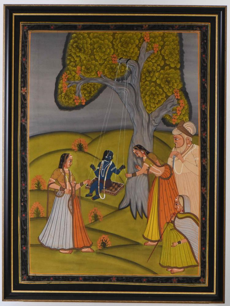 Large Silk Painting of Shiva swinging on a tre