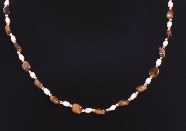 14k Gold Tiger Eye Stone And Fresh Water Pearl