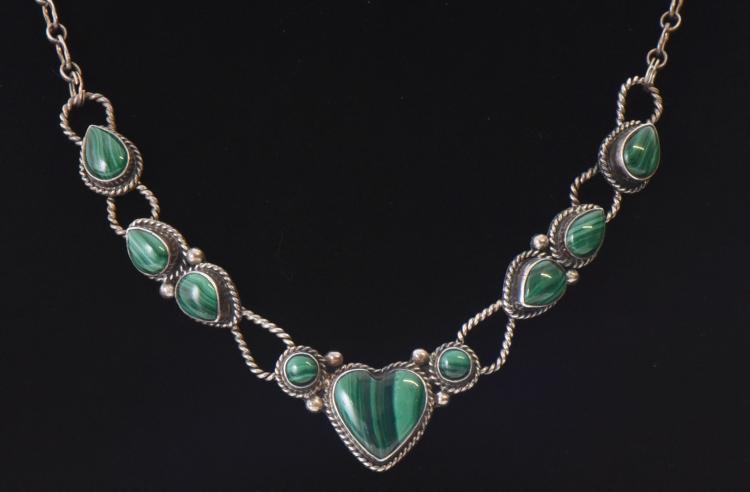Malachite Multi Heart Shaped Sterling Silver N