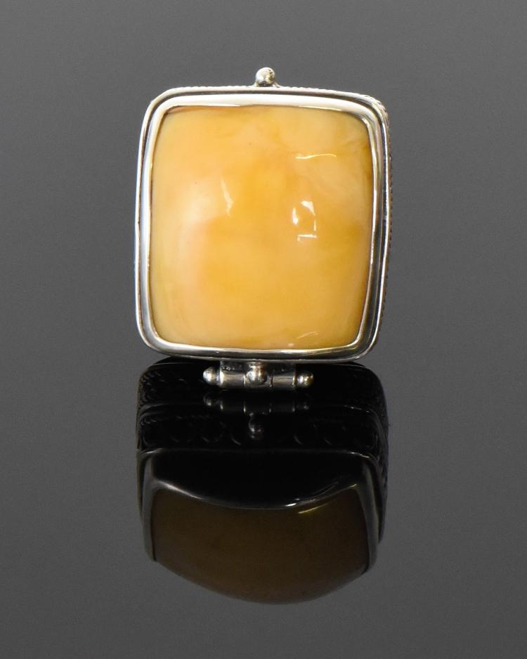 Huge Butterscotch Amber Sterling Silver Poison