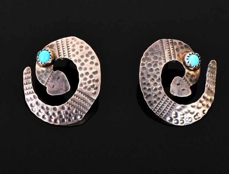 D. Skeets, Navajo Sterling Silver Snake Earrin