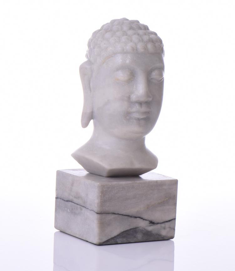 Vietnamese White Marble Buddha Head Mounted On