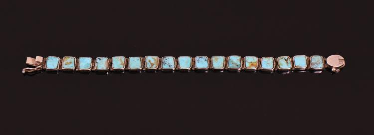 Turquoise 950 Sterling Silver Bracelet.  Estim