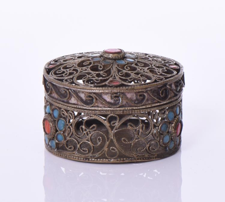 Handmade Tibetan Brass Rosary Or Powder Box Wi