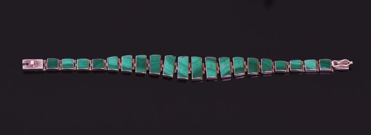 Malachite 950 Silver Bracelet, Mexico.  Estima