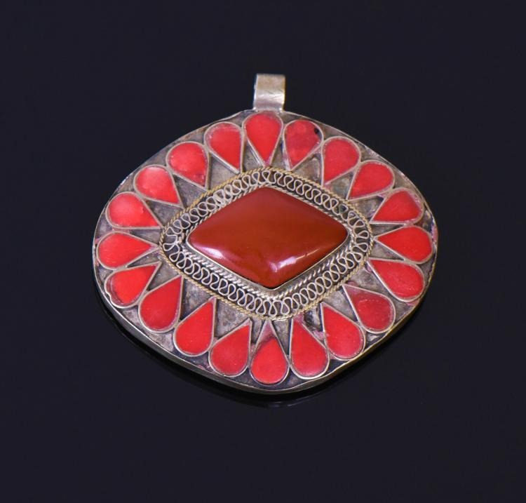 Silver Red Coral Amulet Pendant, Tibet. Silver