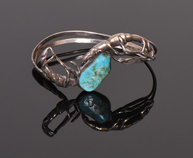Mid Century Turquoise Sterling Silver Brutalis