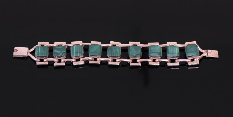 Unpolished Malachite 950 Silver Bracelet, Mexi