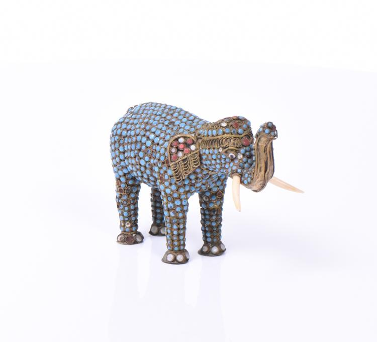 Tibetan Elephant Decorated/Inlaid With Turquoi