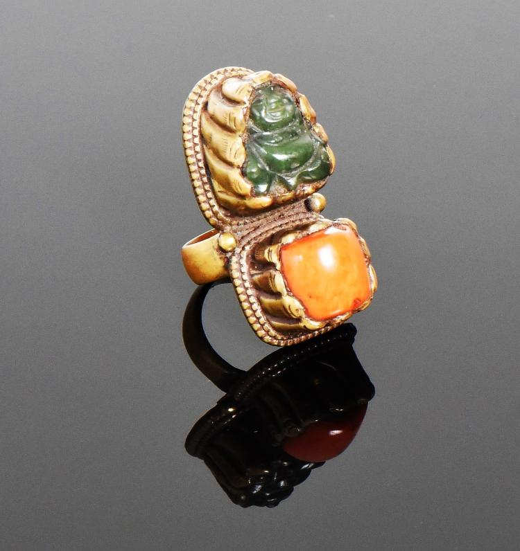 Tibetan Brass Ring With Red Coral And Green Ja