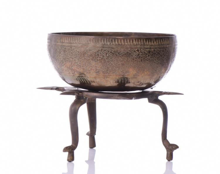 Bronze Inscribed Tibetan Singing Bowl Resting