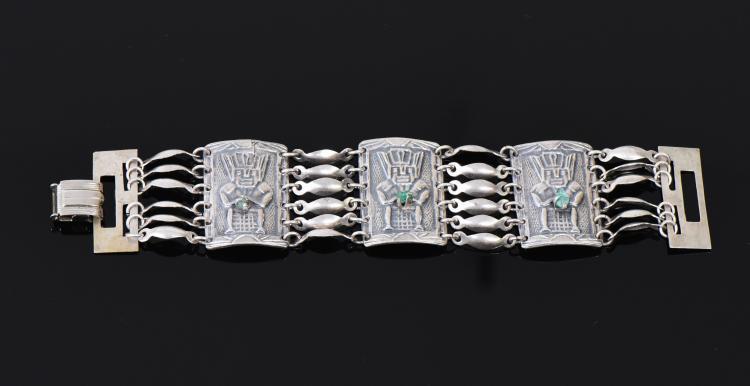 Peruvian Raw Emerald Sterling Silver Bracelet