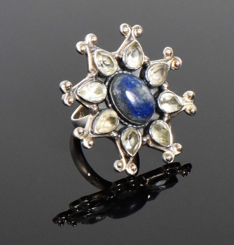 Persian Lapis Lazuli Starburst Ring With White