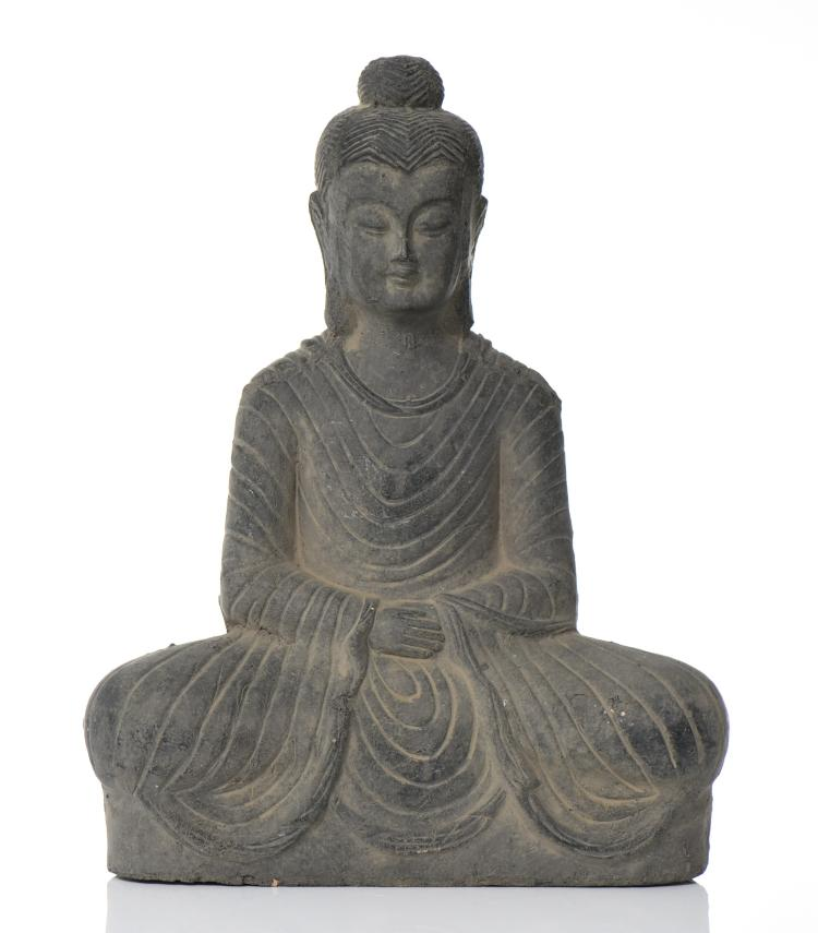 Tibetan Seated Buddha Handmade Clay Sculpture.