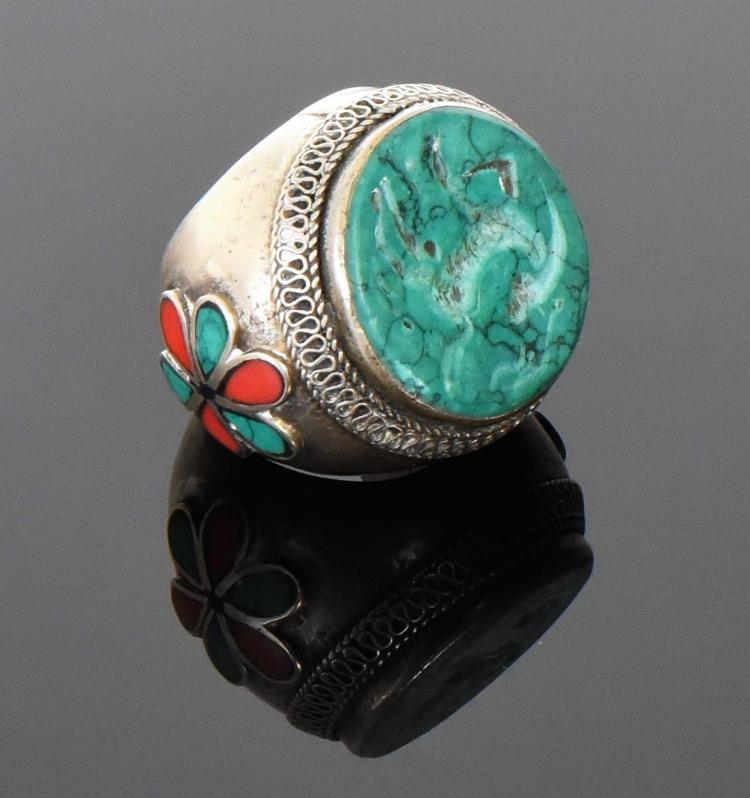 Antique Persian Silver Seal Ring With Turquois