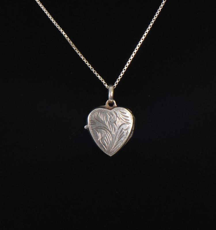 Engraved Sterling Silver Heart locket Necklace