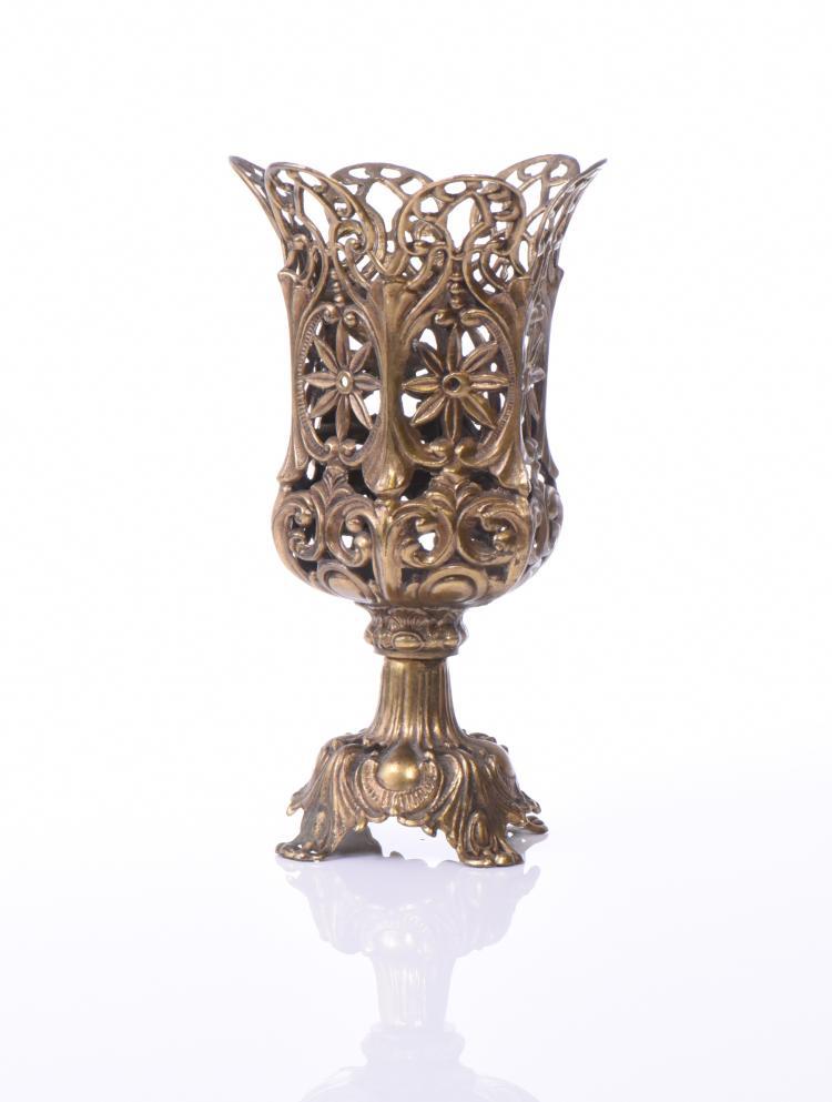 L&L WMC Vintage Brass Candle Vase, 1973  Estim