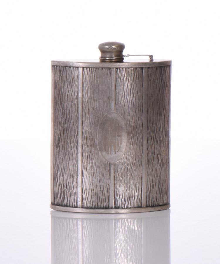 Vintage Whiskey Hip Flask Evans Nickel Silver