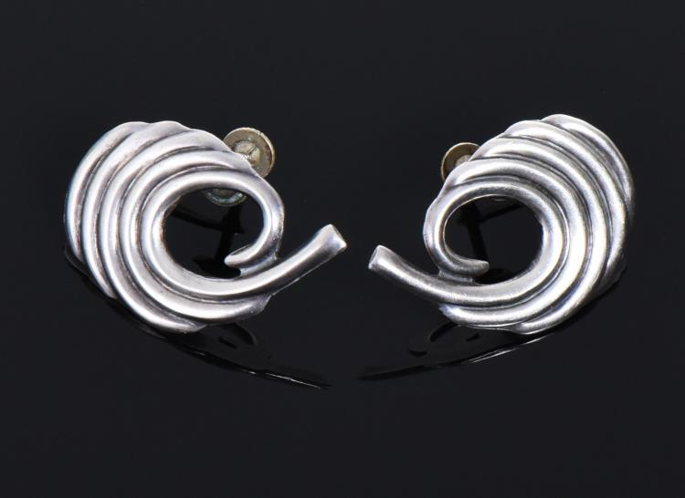 Vintage Sterling Silver Earrings, Mexico.  Est