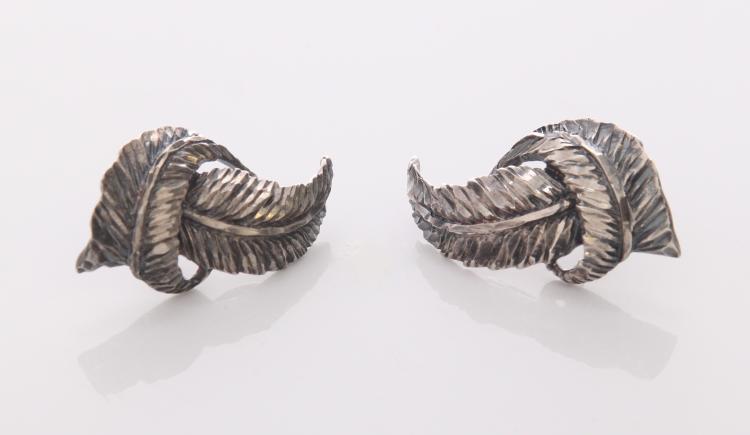 Diamond Cut Sterling Silver Feather Earrings.