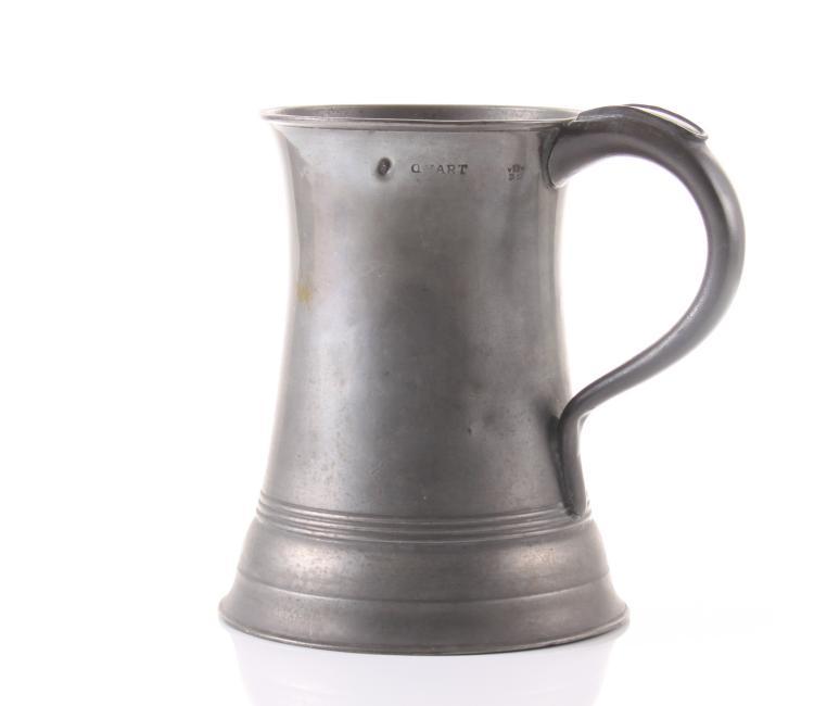 Antique pewter quart size mug with Maker Hallm