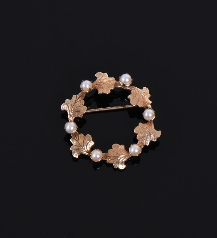 12k Gold Fill Brooch With Pearls. Estimated m