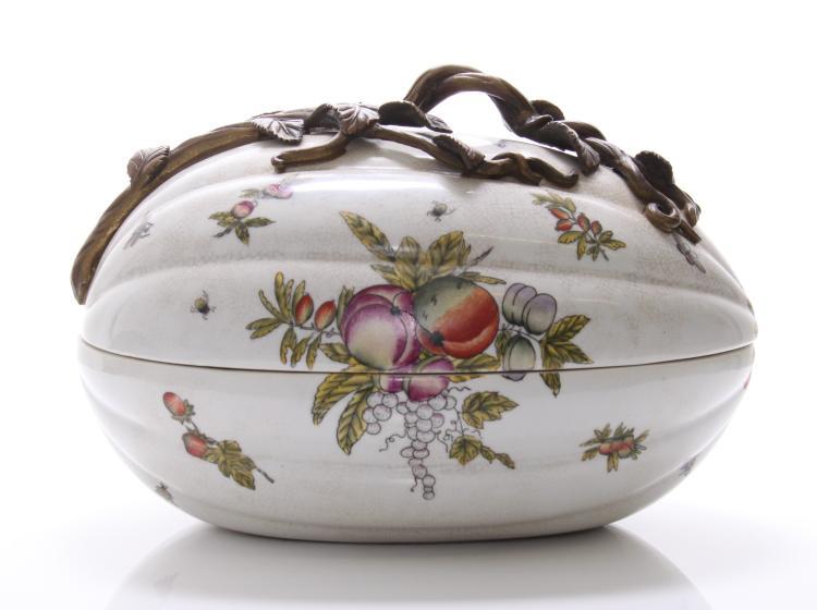 Castilian made bronze and porcelain egg shaped