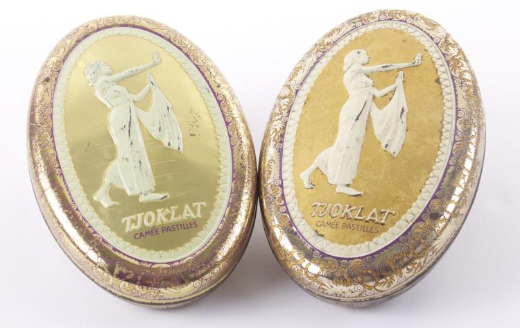 Two Vintage Tjoklat Camee Pastilles embossed t