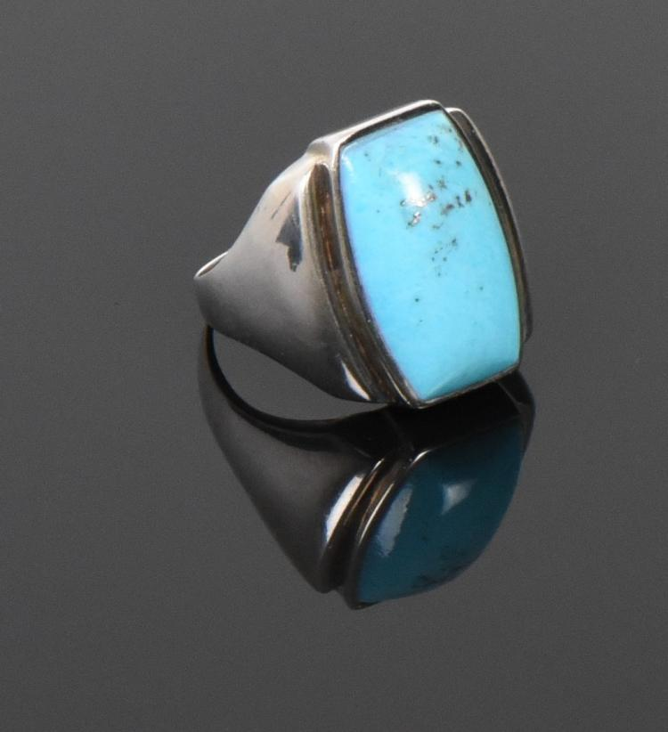 Blue Turquoise Pyrite Matrix Sterling Silver R
