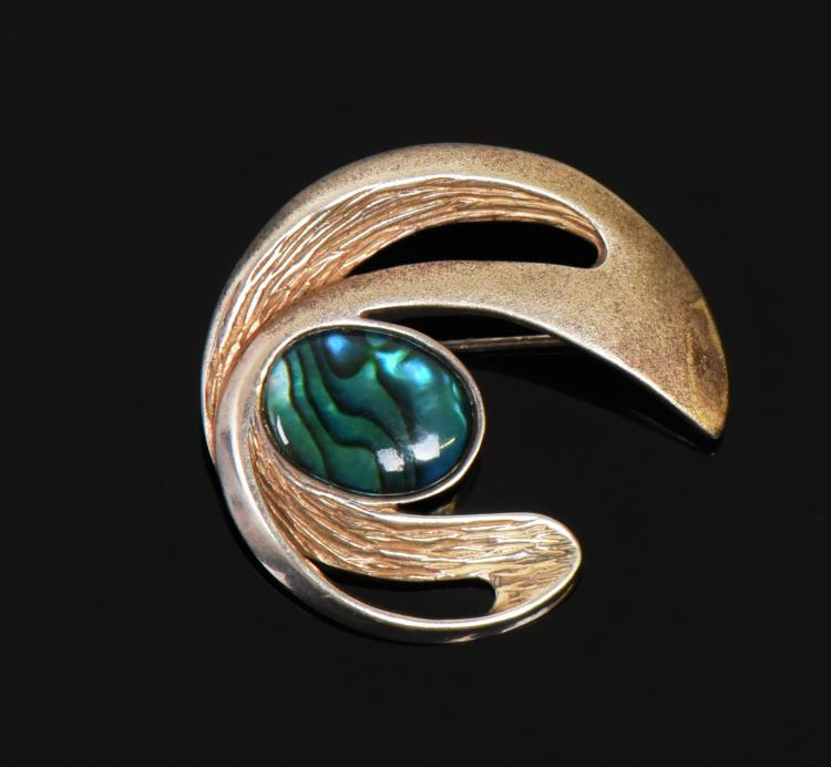 Mid Century Modern Abalone Shell 925 Sterling