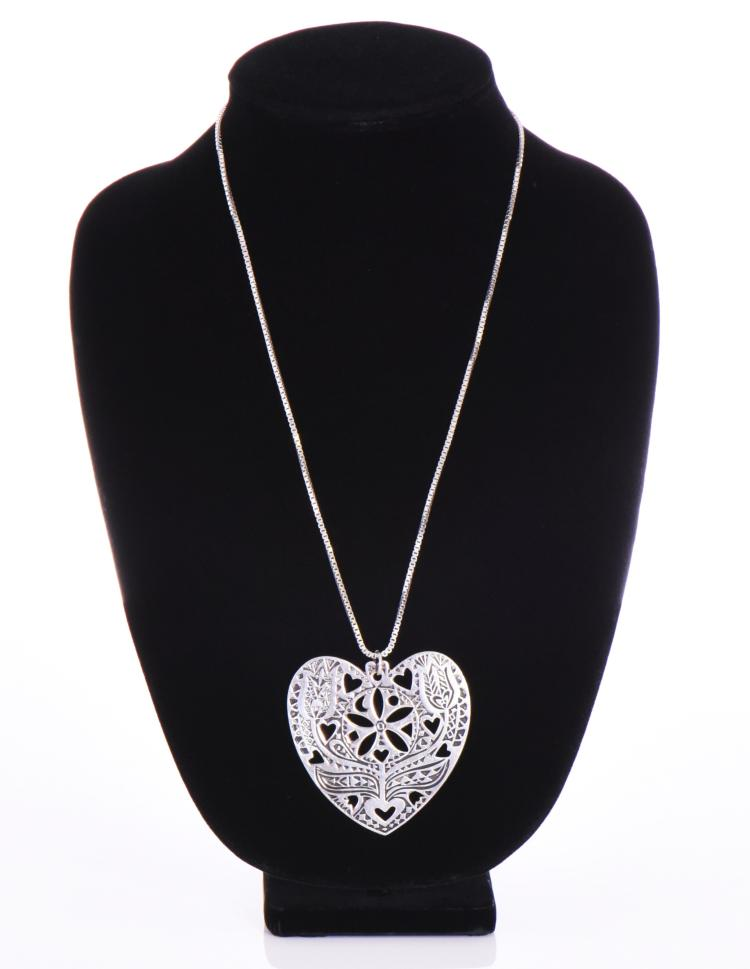 Heart Shaped Sterling Silver Chain and Pendant