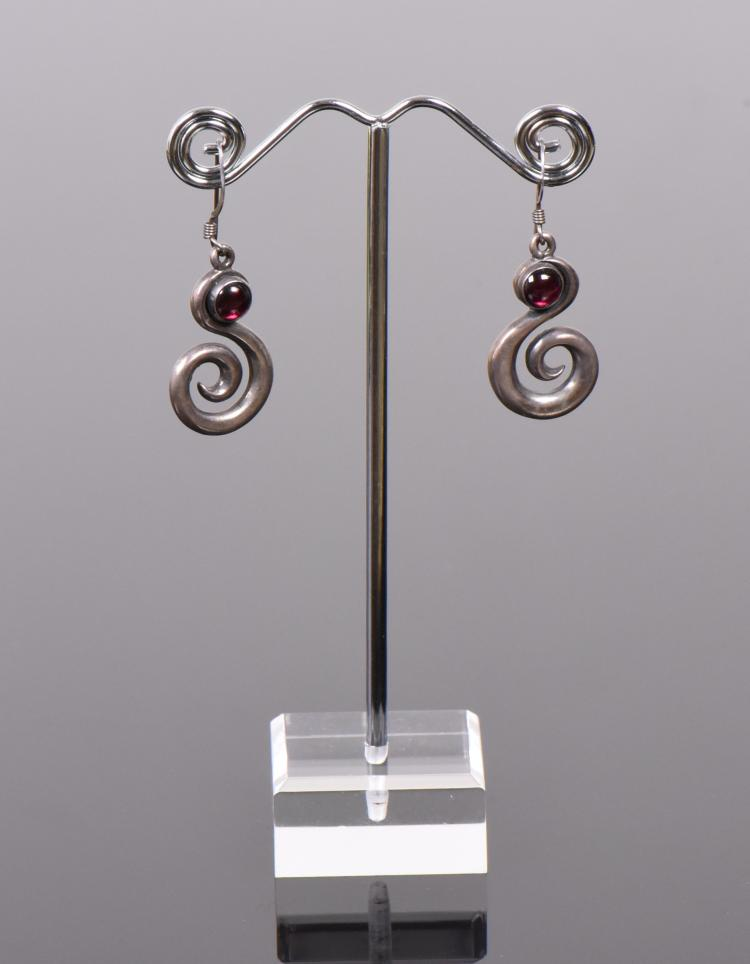 Garnett Sterling Silver Dangling Earrings with