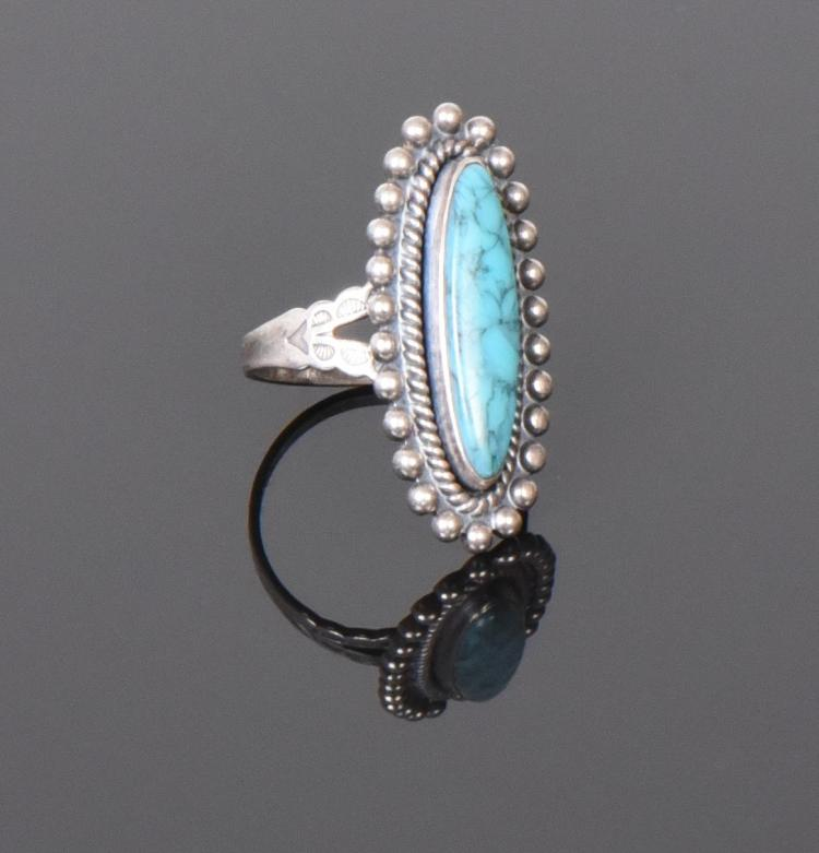 Turquoise Sterling Silver Ring. Ring Size: 7 S