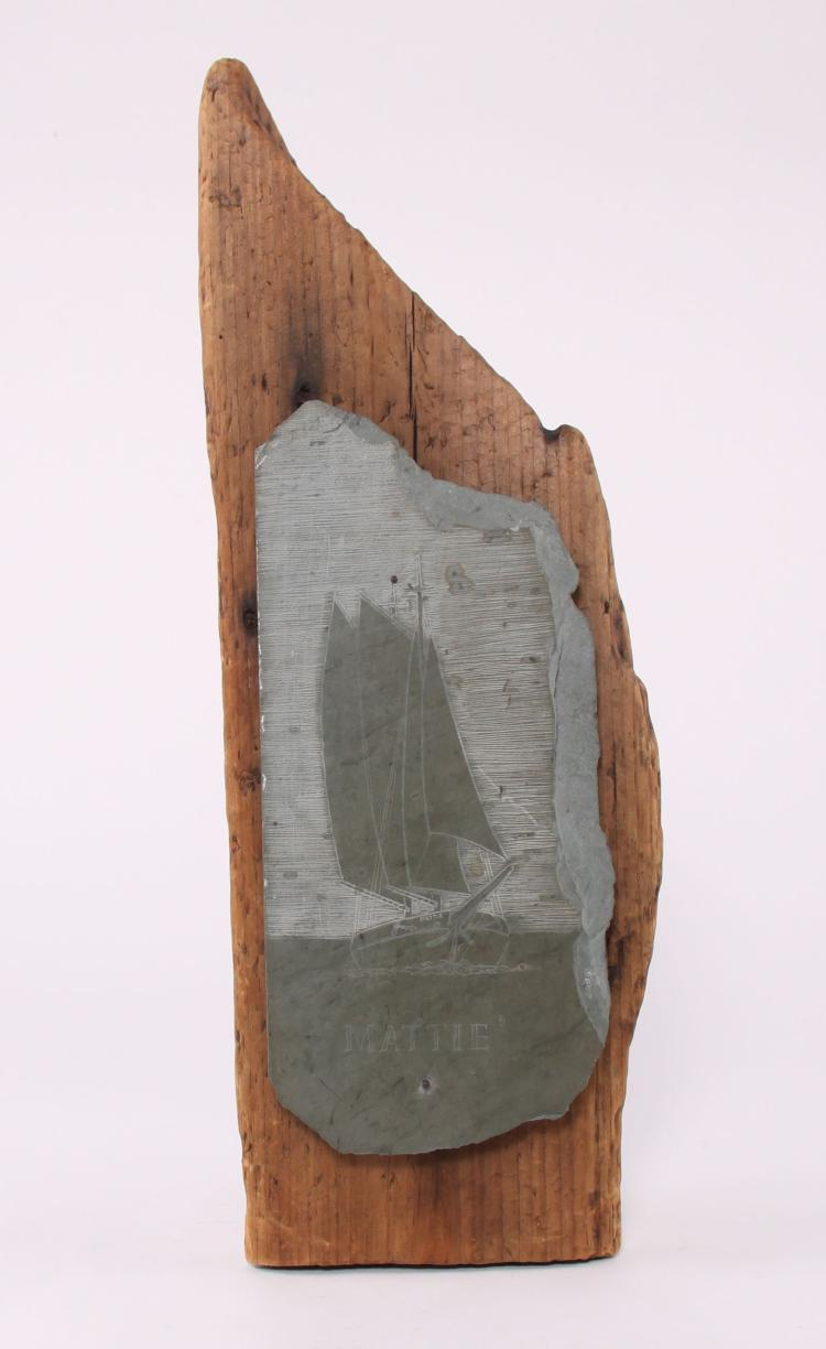 Scrimshaw slate of a sailboat signed by artist