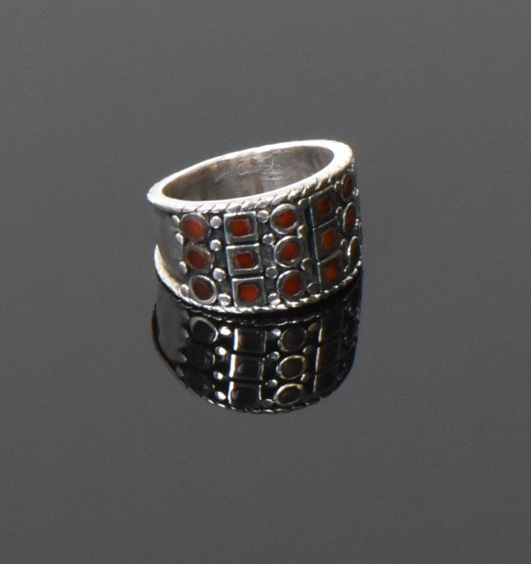 PAS, Vintage Garnet And Sterling Silver Ring.