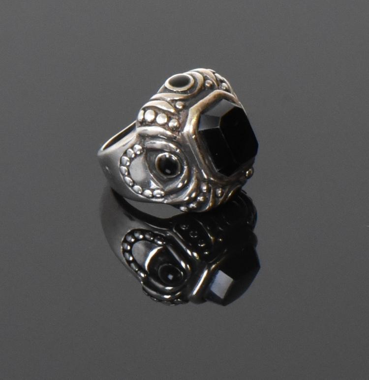 Vintage Black Onyx Sterling Silver Art Deco Ri