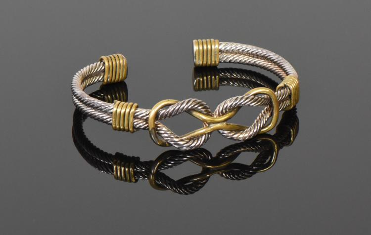 925 Sterling Silver Rope Cuff Bracelet with Co