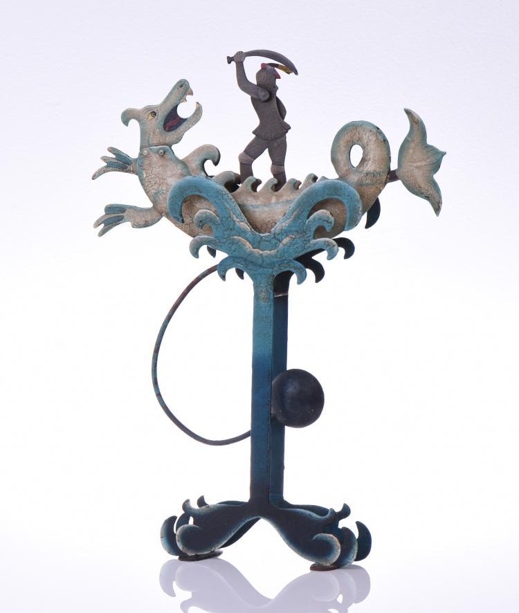 Saint George And Dragon Tin Balancing Toy. Bal