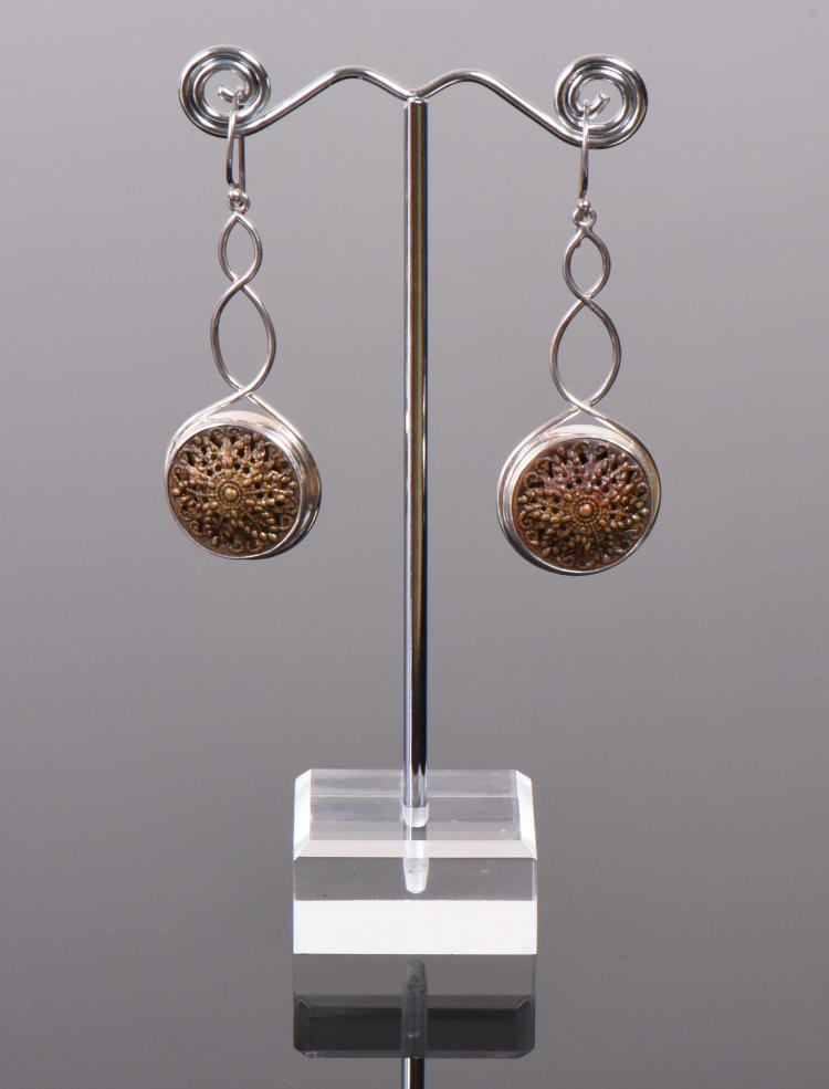 Designer ALXN Sterling Silver Earrings With Re
