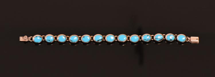 Turquoise 925 Sterling Silver Bracelet, Mexico