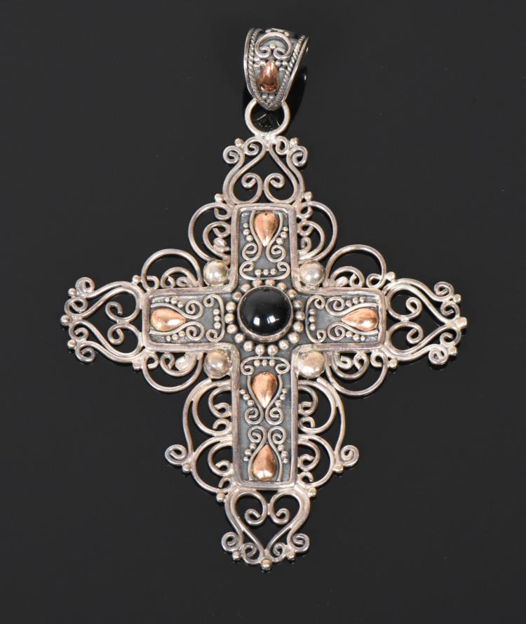 18 K Gold and 925 Sterling Silver Cross, Indon