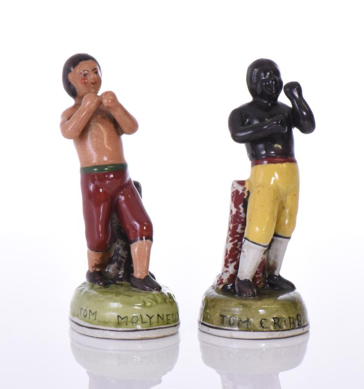 Pair of Staffordshire Boxing Figures Tom Cribb