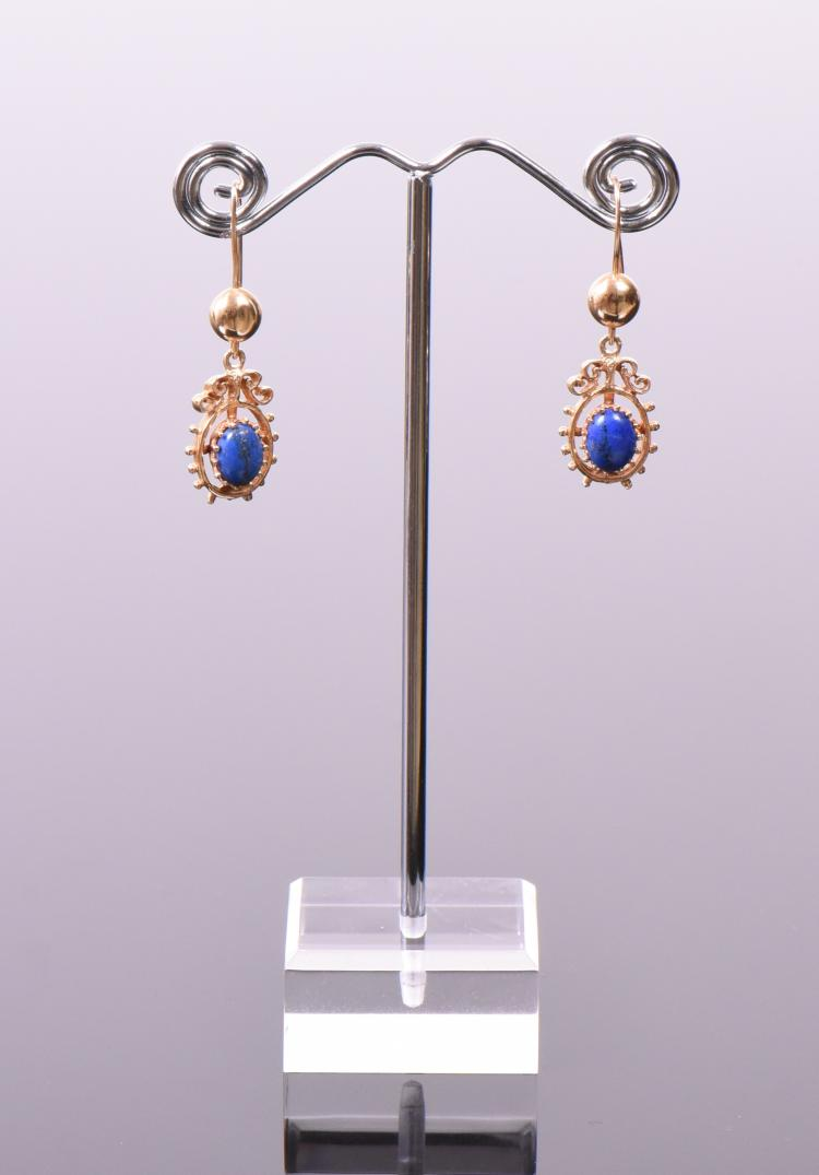 Vintage 14k Gold and Lapis Lazuli Earrings.  W